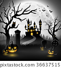 Halloween background with castle and scary pumpkin 36637515
