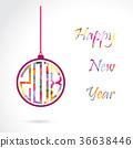 Happy New Year 2018 card design.Vector 36638446