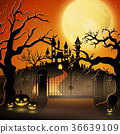 Creepy graveyard with castle and pumpkins 36639109