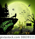 Halloween night background with roaring wolf 36639111