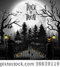 Halloween background with spooky graveyard 36639119