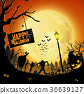 Halloween night with pumpkins and zombie 36639127