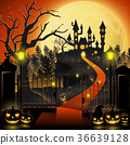 Creepy graveyard with castle and pumpkins 36639128
