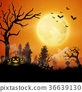 Halloween night with pumpkins and ghost 36639130