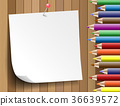 Colorful pencil with paper note  on wooden 36639572