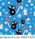 Seamless christmas pattern of cats and snowflakes 36641369