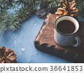 Coffee over Christmas winter background 36641853