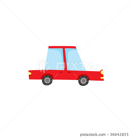 vector flat cartoon red sedan car isolated 36642855