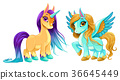 Baby unicorn and pegasus with cute eyes 36645449