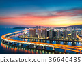 Sunset in Busan city with building 36646485