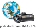 Earth Globe with camcorder, 3D rendering 36649176