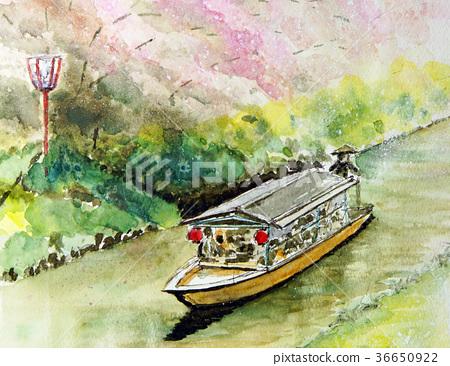 Hanami的船屋手寫素描柳川 36650922