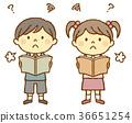 여자아이, 소년, 독서 36651254