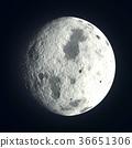 鲜艳细致的真实太空行星场景纹理背景:月球(高分辨率 3D CG 渲染∕着色插图) 36651306