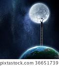 Man reaching moon planet 36651739