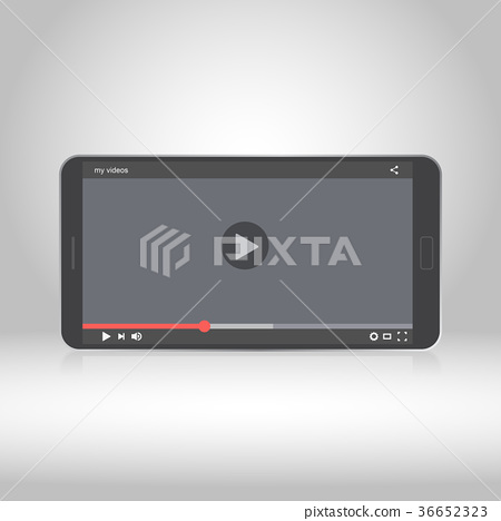 Smartphone with video player on the screen 36652323