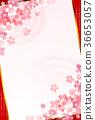 樱花新年的卡片日本纸背景 36653057