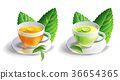 glass cup leaves green tea isolated on white  36654365