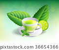 glass cup leaves green tea on  adstrack background 36654366