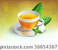 Black tea cup with mint leaves isolated 36654367