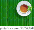 Black tea cup with mint leaves bamboo background. 36654368