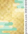 方格的金色屏幕和雲 36654809