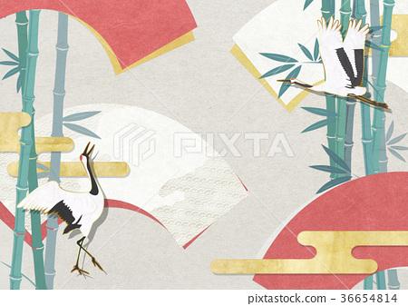 folding fan, crane, cranes 36654814