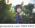 Portrait of happy Boy in blue helmet standing 36654902