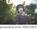 Portrait of happy Boy in blue helmet standing 36654903
