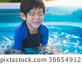 Boy swimming and playing in a pool 36654912