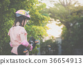 Asian girl  with Skateboard and Protective Helmet 36654913