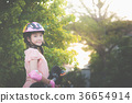 Asian girl  with Skateboard and Protective Helmet 36654914