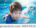 Boy swimming and playing in a pool 36654916