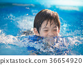 Boy swimming and playing in a pool 36654920