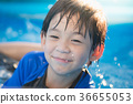 Cute Asian boy swimming and playing in a pool 36655053