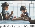 Asian girl playing ukulele near the window 36655100