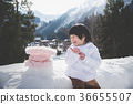 little boy with snowman 36655507