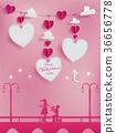 Valentines paper art concept 36656778