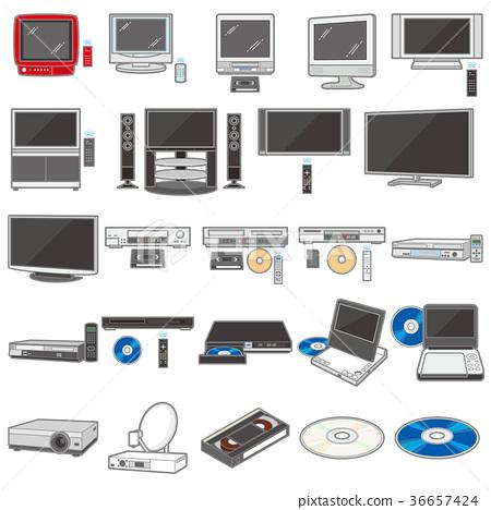 다양한 기기의 일러스트 / TV와 녹화기 36657424