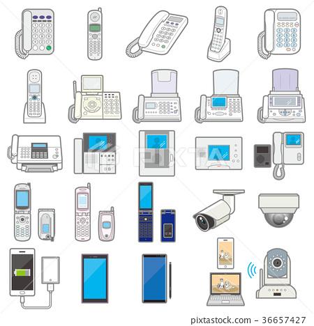 各種各樣的電器/通訊器材的例證 36657427
