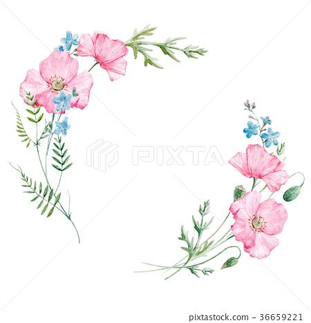Watercolor Floral Frame Stock Illustration 36659221 Pixta