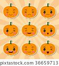Funny cartoon halloween pumpkin sticker icons 36659713