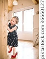 Cute little girl in dress and red high heels at 36660127