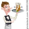 侍者 烤肉串 指示 36660196