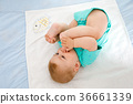 Cute baby taking feet in mouth. Adorable little 36661339