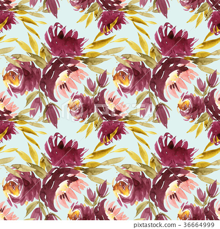 Seamless summer pattern with watercolor flowers 36664999