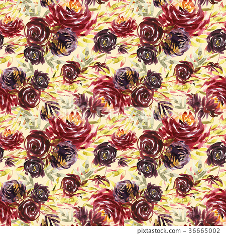 Seamless summer pattern with watercolor flowers 36665002