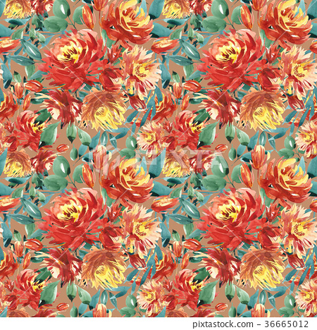 Seamless pattern with large watercolor flowers by 36665012