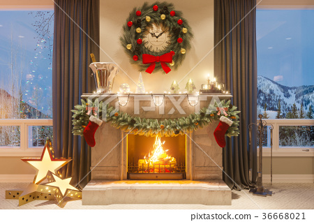 3d illustration of a Christmas interior with a 36668021