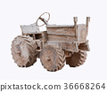 Wood tractor toy isolated on white background 36668264